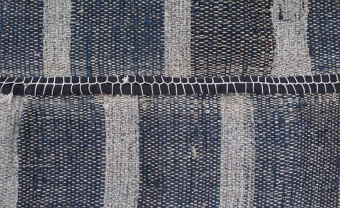 Saki-ori: hemp warp, torn cotton weft