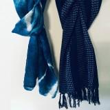 Shibori dyed scarf, Kasuri woven scarf